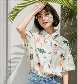 polo衫小清新ins襯衫女夏可愛印花短袖韓版寬鬆學生襯衣2018新款   LannaS