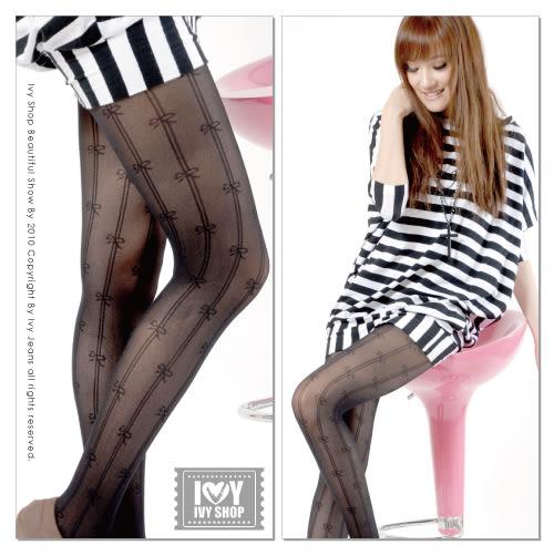 美腿褲襪!雙直線小蝴蝶結黑底網襪『台灣製』【21-1008-805】Ivy小舖