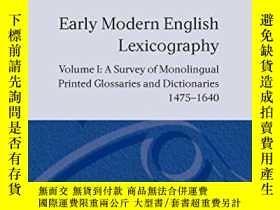 二手書博民逛書店Early罕見Modern English Lexicography: Volume 1: A Survey Of