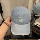 新款棒球帽新款NY牛仔料破洞洋基隊鴨舌帽男女帽子滿標 快速出貨