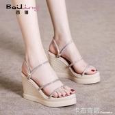 夏季新款厚底楔形涼鞋女仙女風水鑚時尚厚底波西米亞百搭鞋子 卡布奇诺