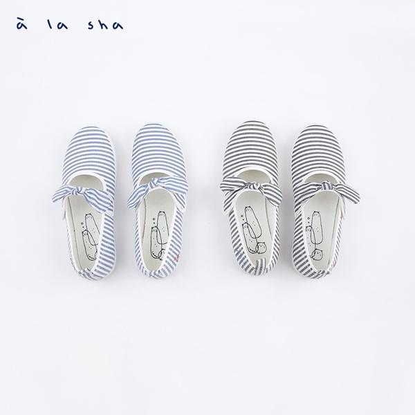 a la sha 條紋Q咪娃娃鞋