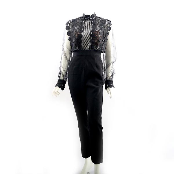 【self-portrait】黑色雪紡蕾絲連身褲裝 SP9090J