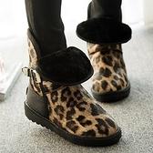 中筒雪靴-時尚潮流豹紋皮帶扣女厚底靴子2色73kg30【巴黎精品】