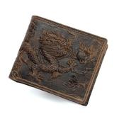 瘋馬皮皮夾(短夾)-中國風龍紋浮雕復古男錢包2款73qs25【時尚巴黎】