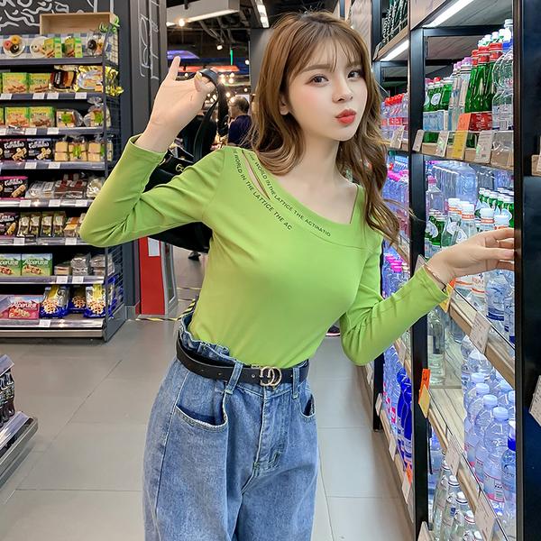 超殺出清 韓系牛油果綠色t恤修身時尚長袖單品上衣