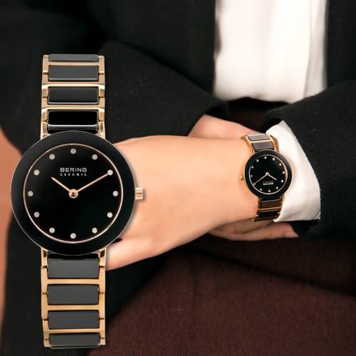 BERING 丹麥精品手錶 Ceramic 現代優雅拋光玫瑰金陶瓷腕錶/黑 11429-746 熱賣中!