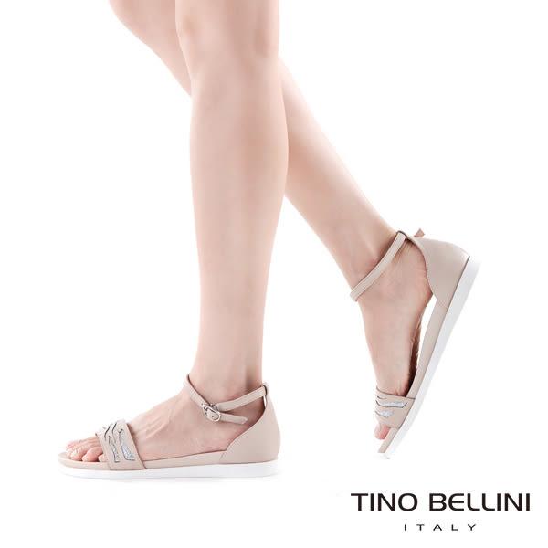 Tino Bellini 圖騰鏤空閃爍心機增高平底涼鞋(黑)_C63021  2016SS