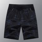 沙灘褲 夏季純棉短褲男士寬鬆大碼五分褲印花鬆緊帶沙灘褲休閒外穿大褲衩 快速出貨