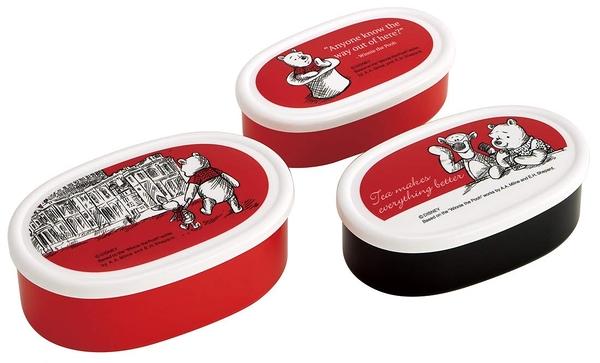 POOH 維尼小熊 保鮮盒 便當盒 橢圓 3入一組 744739 日本製 奶爸商城