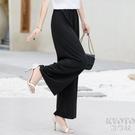 新款闊腿褲女夏季高腰寬鬆休閒褲中年垂感寬腿褲直筒冰絲媽媽褲子 快速出貨