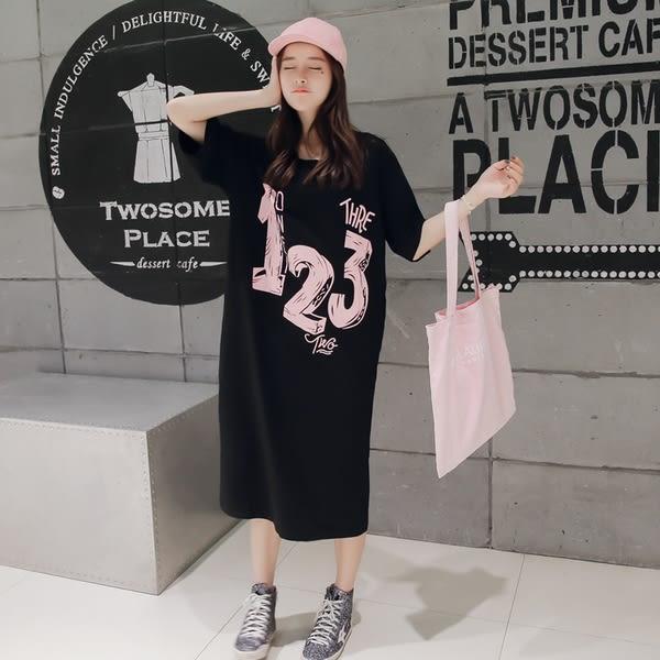 【GZ L2】長洋裝 韓版寬鬆數字印花連身長裙 圓領短袖T恤裙 洋裝