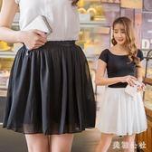 中大尺碼 2018新款流行時尚白色a字高腰短裙百褶蓬蓬裙 ZB374『美鞋公社』