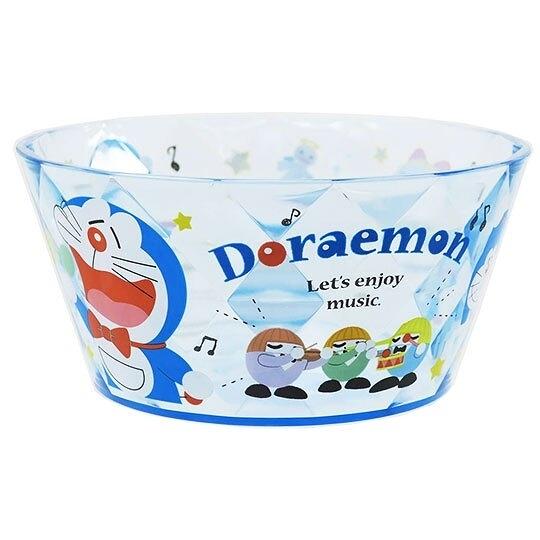 〔小禮堂〕哆啦A夢 菱格紋透明塑膠平底碗《藍.唱歌》飯碗.沙拉碗 4930972-47597