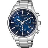 【台南 時代鐘錶 CITIZEN】星辰 電波光動能 廣告款鈦金屬商務世界時區腕錶 CB5020-87L 藍/銀 41mm