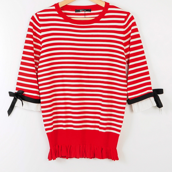 【MASTINA】造型下擺條紋針織-紅 冬末好康