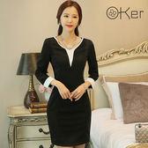 正韓V領連身裙中大尺碼雙色拼色O-Ker  VE8000-C