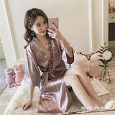 性感睡衣女薄款冰絲綢中長款日系女士睡袍開衫浴袍寬鬆家居服 可可鞋櫃