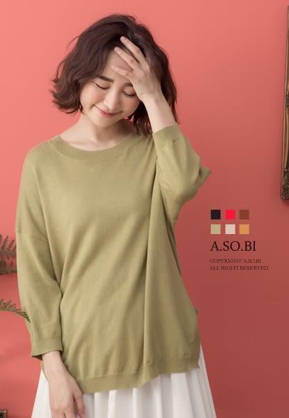 A-SO-BI韓系-兩側小斜向開衩七分袖針織上衣【R20184-03】