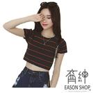 EASON SHOP(GW1190)韓版條紋露臍短版短袖針織衫露肚臍女上衣服彈力貼身緊身閨蜜裝