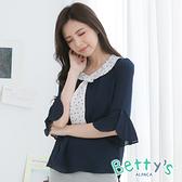 betty's貝蒂思 領口綁帶造型雪紡上衣(深藍)