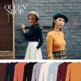 Queen Shop【01012234】純色坑條素面針織合身上衣 九色售*現+預*