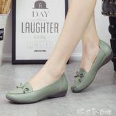 中年女鞋防滑平底媽媽鞋軟底豆豆鞋女大碼單鞋懶人鞋休閒皮鞋 潔思米