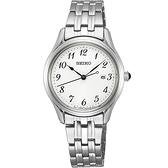 【台南 時代鐘錶 SEIKO】精工 SUR643P1 大三針 數字 日期顯示 鋼錶帶女錶 6N22-00J0S 白 30mm