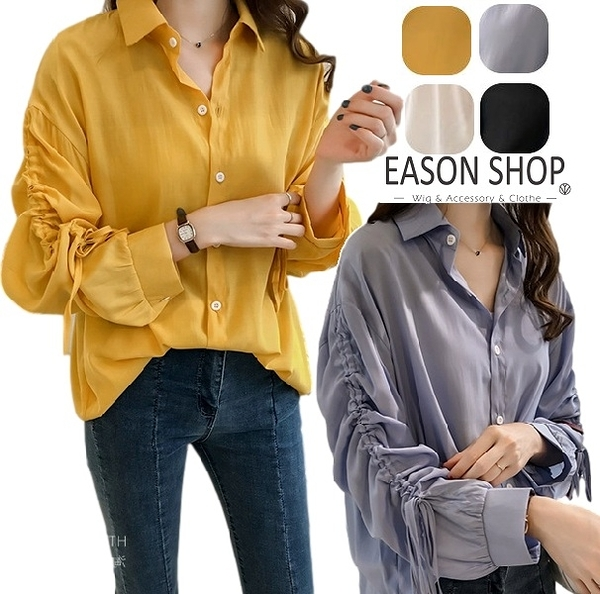 EASON SHOP(GW3516)韓版純色薄款前排釦閨蜜裝袖子拉皺綁鱦長袖襯衫女上衣服落肩寬鬆內搭衫顯瘦黃色