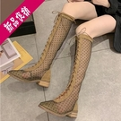 2021夏季新款鏤空網紗羅馬涼鞋女透氣網紅百搭高筒網眼靴長筒涼靴