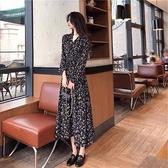 M-4XL大碼長袖洋裝 連身裙 長裙顯瘦遮肚減齡超仙女森系碎花連身裙 R028-B 胖丫