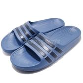 adidas 拖鞋 Duramo Slide K 藍 黑 一片拖 防水 三條線 童鞋 女鞋【PUMP306】 CP9383