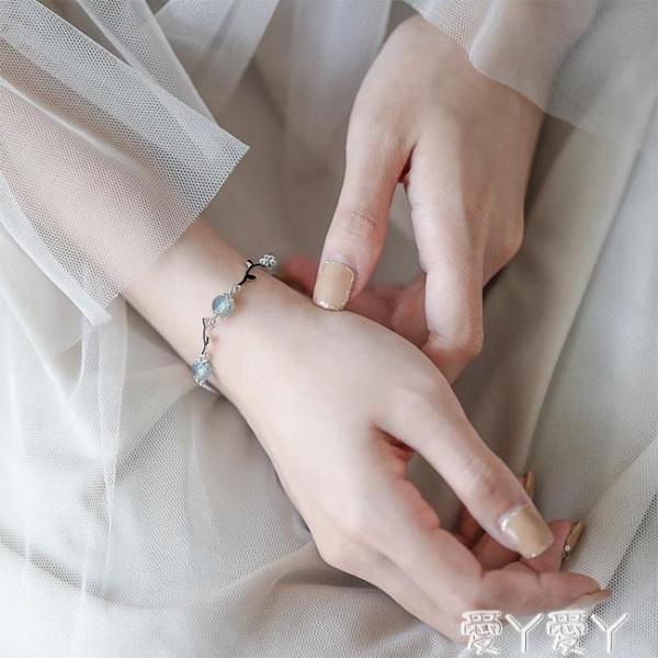 手錬銀春春純銀月光石枝條抽拉手鍊小眾設計森系女手繩網紅漸凍人閨蜜新品
