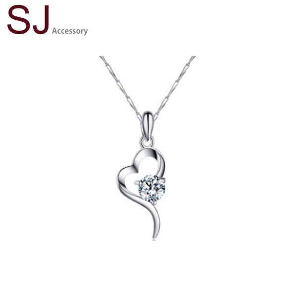 素簡手作《NS024》正白k~簡約愛心鋯石晶鑽項鍊