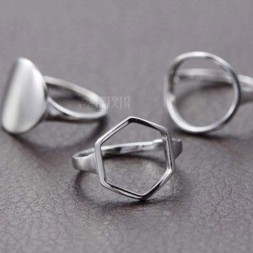 ►沒關係是愛情啊孔孝真明星同款 韓國進口鏤空圖形五角戒指指環【B2084】