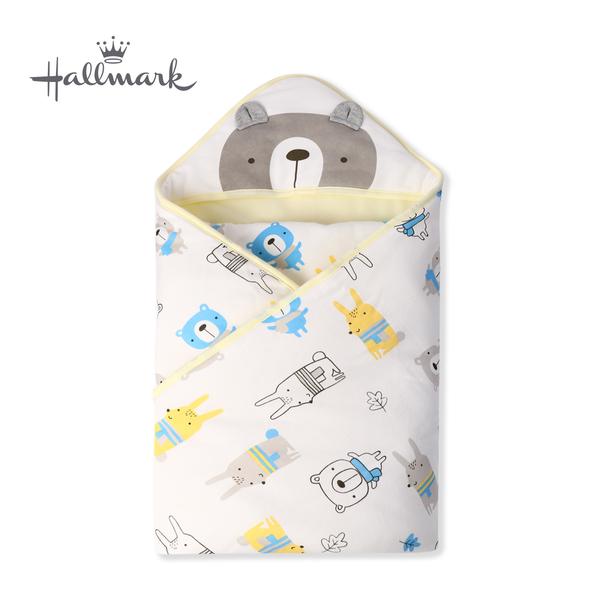 Hallmark Babies 圍巾小熊純棉保暖夾棉連帽包巾/毯子 HH3-N01-AA-AU-MY