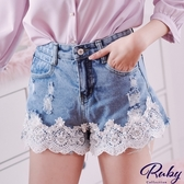 褲子 珍珠水鑽鉤花抽鬚刷破牛仔短褲-Ruby s 露比午茶