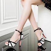魚口鞋 2021夏新品魚嘴高跟涼鞋細跟一字扣帶厚底防水臺性感顯瘦拼色女鞋 伊蘿