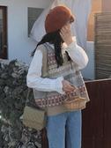 針織馬甲女新款秋季復古減齡V領無袖背心寬鬆毛衣學生上衣ins  魔法鞋櫃