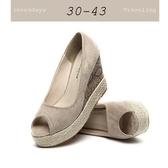 大尺碼女鞋小尺碼女鞋素面百搭舒適魚口動物紋厚底楔型鞋女鞋兩色杏色(30-43)現貨#七日旅行