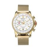 【BENTLEY】賓利 RACING系列 競速美學計時手錶 (白面/金色鋼帶 BL1694-20KWI-M)
