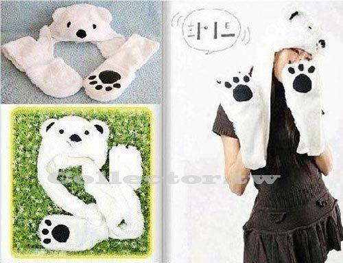 【超取399免運】韓國 白熊帽子圍巾手套 Super Junior最愛 保暖圍巾手套