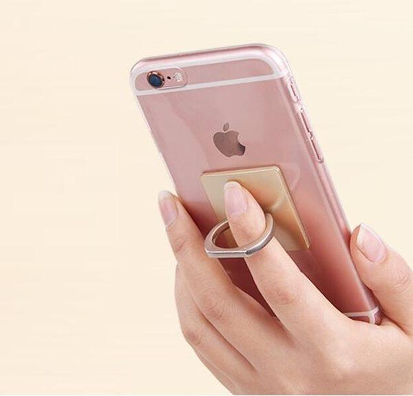 【SZ】簡約無圖案便攜式指環支架 通用平板手機支架 卡扣粘貼式旋轉懶人支架