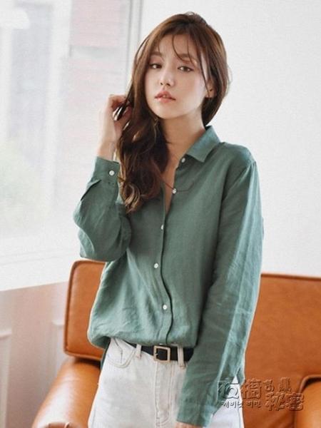 棉麻上衣 亞麻棉麻襯衫女設計感小眾長袖秋季新款韓版寬松上衣復古襯衣 衣櫥秘密