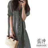 EASON SHOP(GW3112)韓版簡約撞色細直條紋單口袋前徘釦長袖襯衫連身裙洋裝女上衣服修身長裙過膝裙