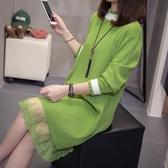 針織洋裝牛油果綠大碼女裝秋冬胖妹妹寬鬆針織衫長袖蕾絲毛衣打底衫洋裝新品