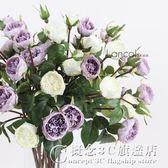 仿真花 白色淺紫色薔薇小玫瑰 家居客廳餐廳裝飾花絹花.igo 概念3C旗艦店