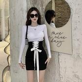 包臀裙女夏季設計感綁帶A字裙緊身高腰短裙2021新款黑色半身裙潮9