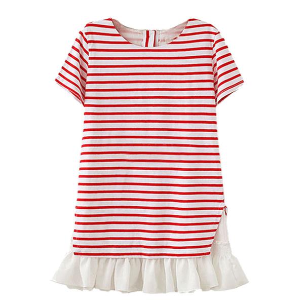 修身條紋下擺拼接雪紡設計孕婦洋裝 紅【COH860302】孕味十足 孕婦裝
