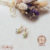 耳環 韓國直送‧三色花朵水鑽耳環-依賣場色-Ruby s 露比午茶